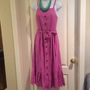 Gorgeous purple-pink eyelet ruffle maxi dress